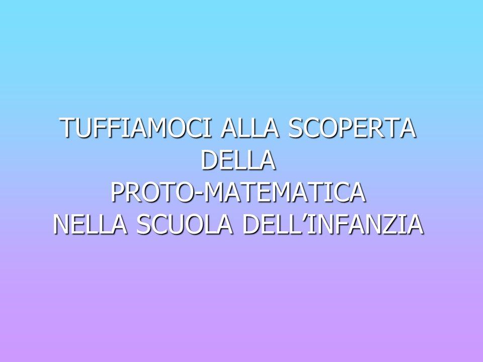 Definiamo la proto- matematica: Per proto-matematica si intende la prima matematica a cui i bambini si affacciano.