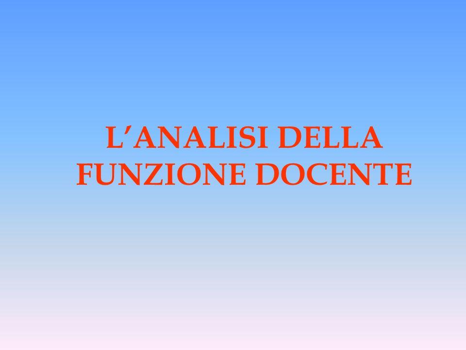 LANALISI DELLA FUNZIONE DOCENTE