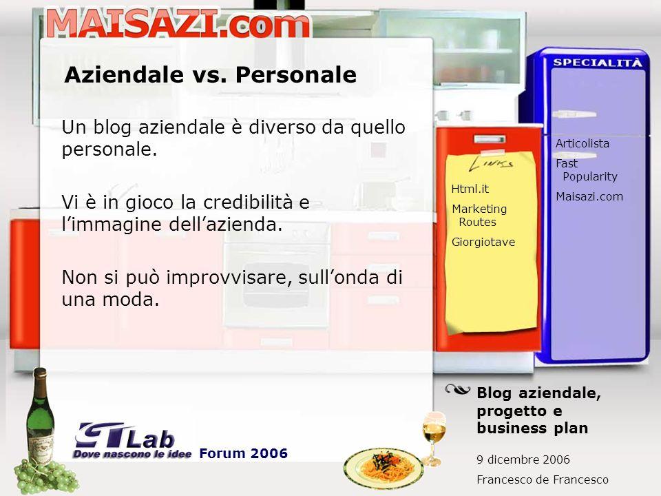 Aziendale vs. Personale Un blog aziendale è diverso da quello personale. Vi è in gioco la credibilità e limmagine dellazienda. Non si può improvvisare