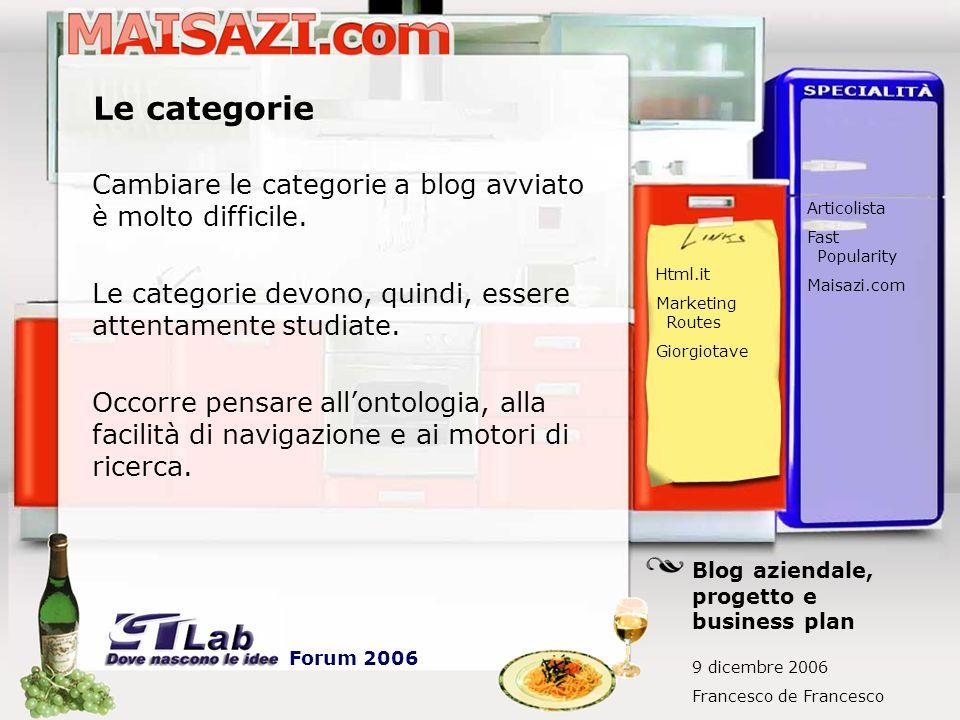 Le categorie Cambiare le categorie a blog avviato è molto difficile. Le categorie devono, quindi, essere attentamente studiate. Occorre pensare allont