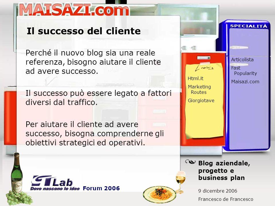 Il successo del cliente Perché il nuovo blog sia una reale referenza, bisogno aiutare il cliente ad avere successo. Il successo può essere legato a fa