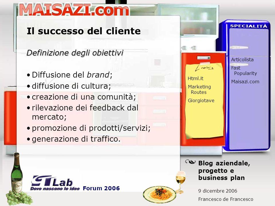 Il successo del cliente Definizione degli obiettivi Diffusione del brand; diffusione di cultura; creazione di una comunità; rilevazione dei feedback dal mercato; promozione di prodotti/servizi; generazione di traffico.