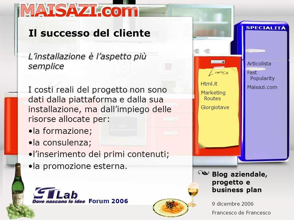 Il successo del cliente Linstallazione è laspetto più semplice I costi reali del progetto non sono dati dalla piattaforma e dalla sua installazione, m