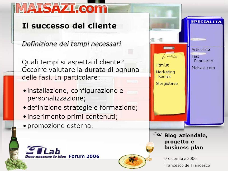 Il successo del cliente Definizione dei tempi necessari Quali tempi si aspetta il cliente? Occorre valutare la durata di ognuna delle fasi. In partico