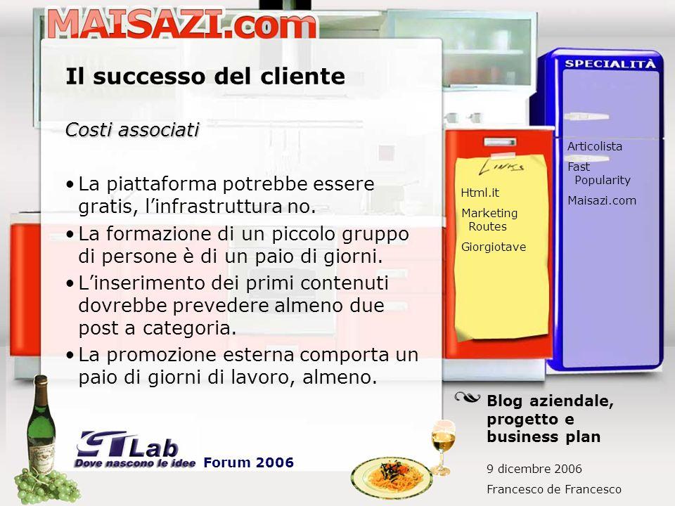 Il successo del cliente Costi associati La piattaforma potrebbe essere gratis, linfrastruttura no.