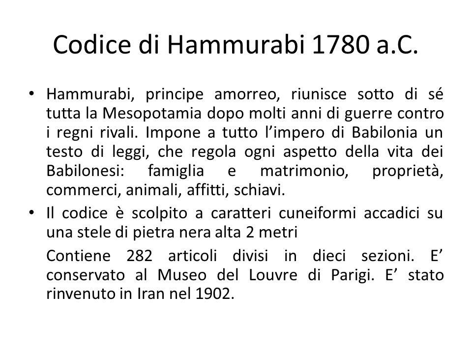 Codice di Hammurabi 1780 a.C. Hammurabi, principe amorreo, riunisce sotto di sé tutta la Mesopotamia dopo molti anni di guerre contro i regni rivali.