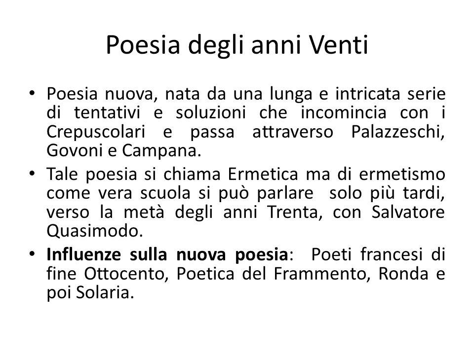Linfluenza di Solaria E fondamentale per comprendere la produzione letteraria degli anni Trenta.