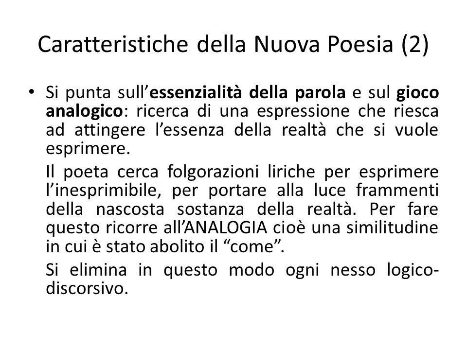 Caratteristiche della Nuova Poesia (2) Si punta sullessenzialità della parola e sul gioco analogico: ricerca di una espressione che riesca ad attinger
