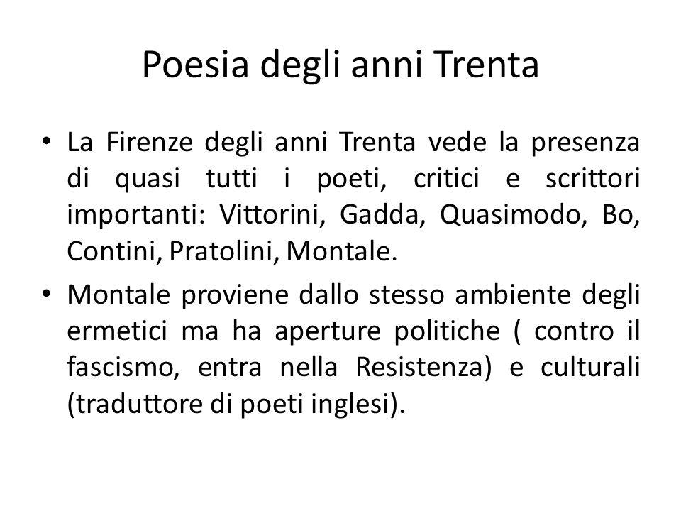 Poesia degli anni Trenta La Firenze degli anni Trenta vede la presenza di quasi tutti i poeti, critici e scrittori importanti: Vittorini, Gadda, Quasi