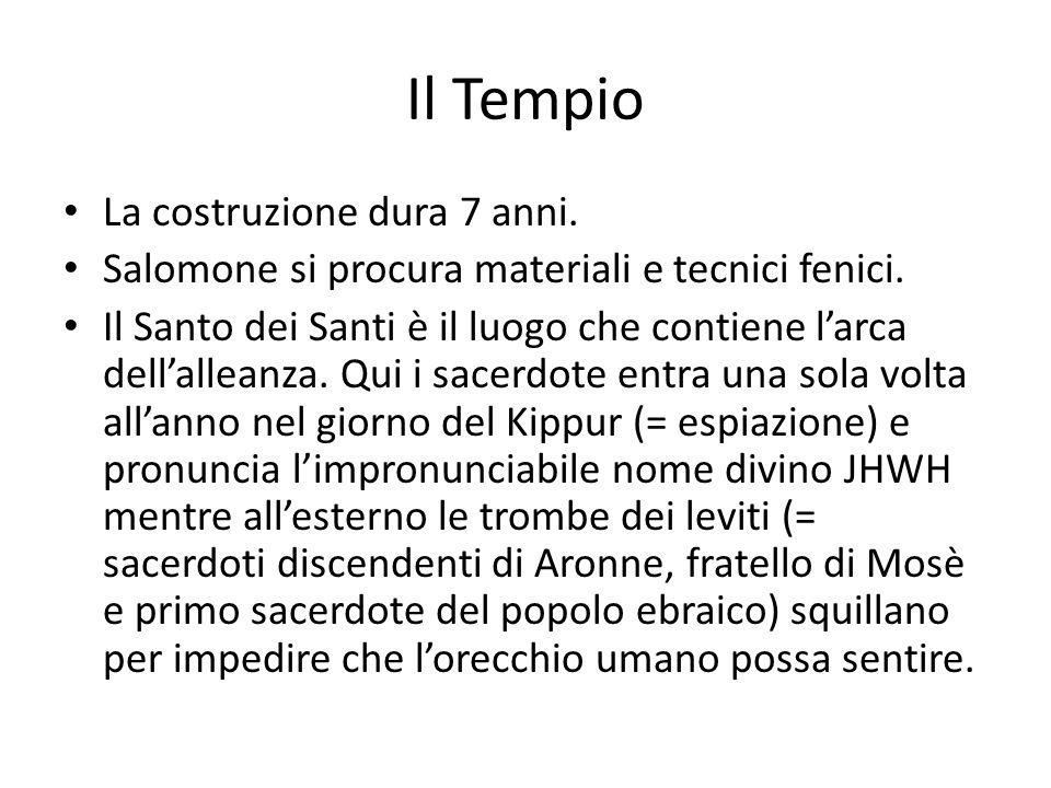Il Tempio La costruzione dura 7 anni.Salomone si procura materiali e tecnici fenici.