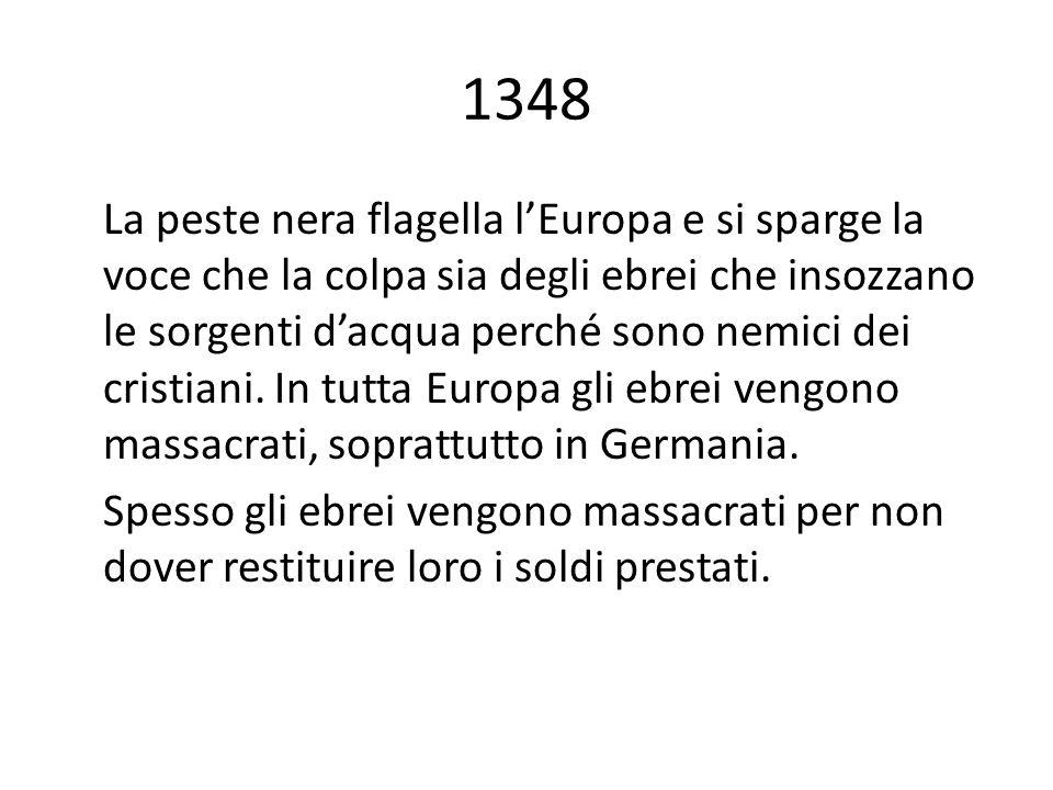 1348 La peste nera flagella lEuropa e si sparge la voce che la colpa sia degli ebrei che insozzano le sorgenti dacqua perché sono nemici dei cristiani.