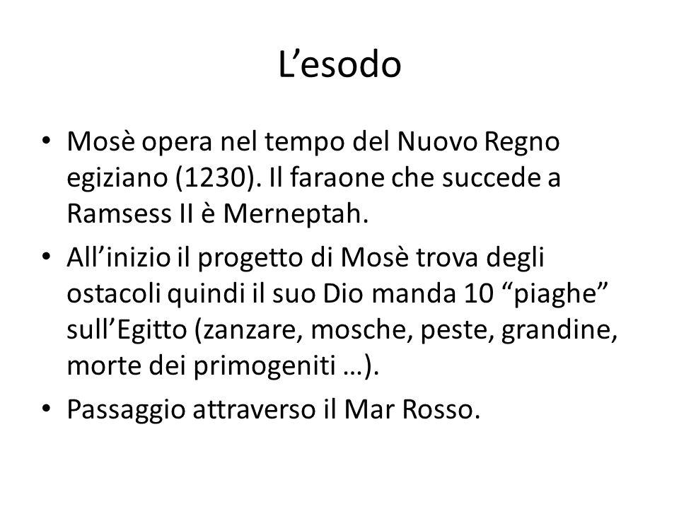 Lesodo Mosè opera nel tempo del Nuovo Regno egiziano (1230).