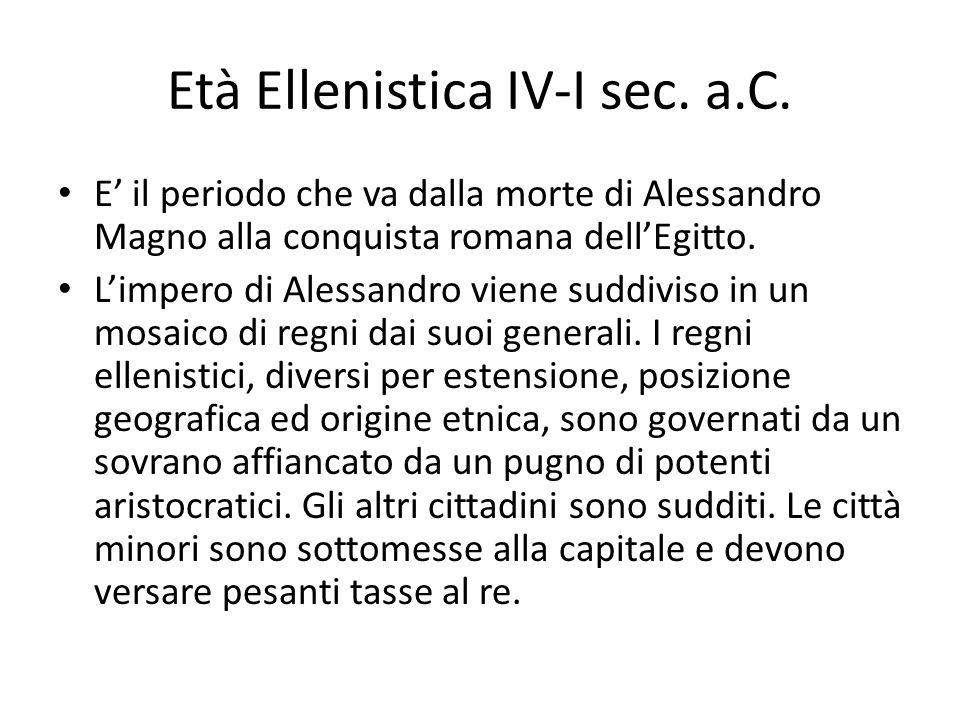 Età Ellenistica IV-I sec. a.C. E il periodo che va dalla morte di Alessandro Magno alla conquista romana dellEgitto. Limpero di Alessandro viene suddi
