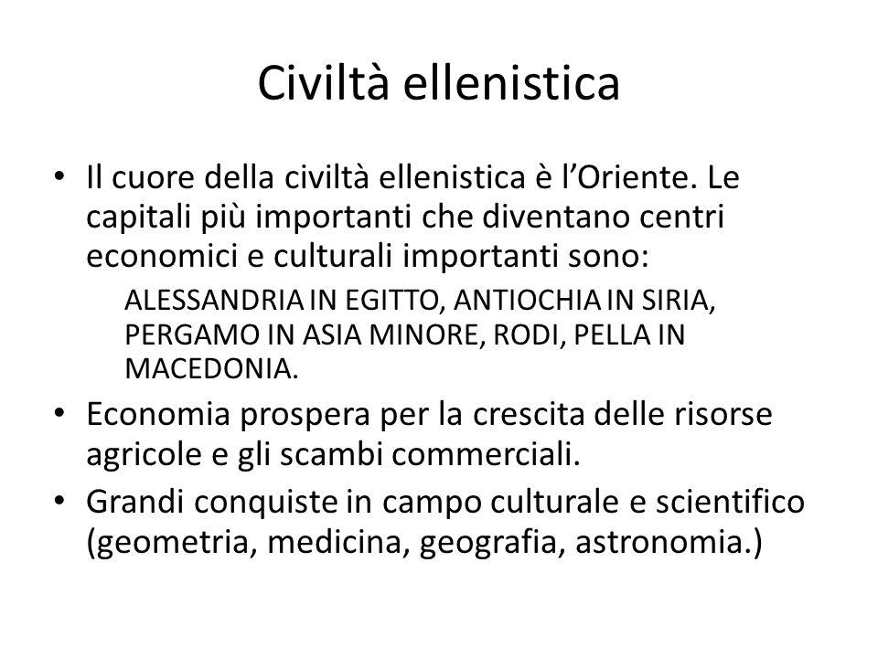 Civiltà ellenistica Il cuore della civiltà ellenistica è lOriente. Le capitali più importanti che diventano centri economici e culturali importanti so