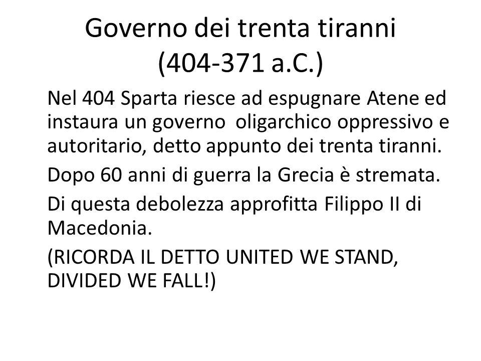 Governo dei trenta tiranni (404-371 a.C.) Nel 404 Sparta riesce ad espugnare Atene ed instaura un governo oligarchico oppressivo e autoritario, detto