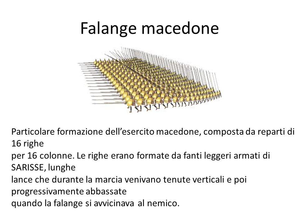 Falange macedone Particolare formazione dellesercito macedone, composta da reparti di 16 righe per 16 colonne. Le righe erano formate da fanti leggeri