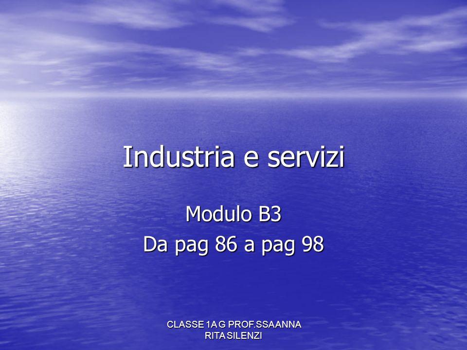 CLASSE 1A G PROF.SSA ANNA RITA SILENZI Industria e servizi Modulo B3 Da pag 86 a pag 98