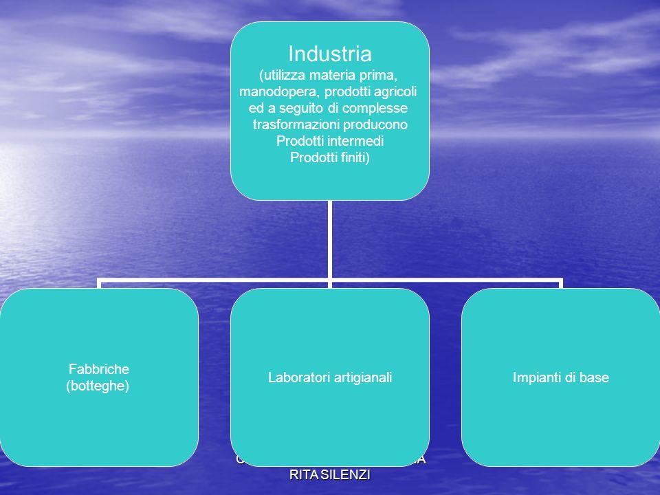 CLASSE 1A G PROF.SSA ANNA RITA SILENZI Industria (utilizza materia prima, manodopera, prodotti agricoli ed a seguito di complesse trasformazioni produ