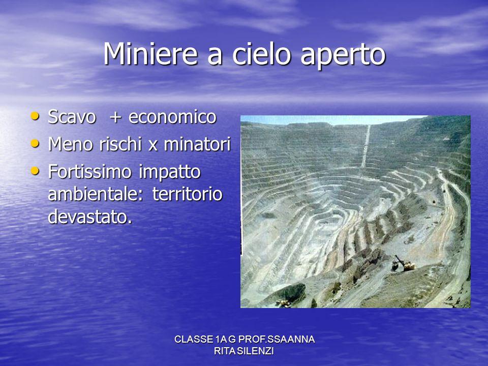 CLASSE 1A G PROF.SSA ANNA RITA SILENZI Miniere a cielo aperto Scavo + economico Scavo + economico Meno rischi x minatori Meno rischi x minatori Fortis