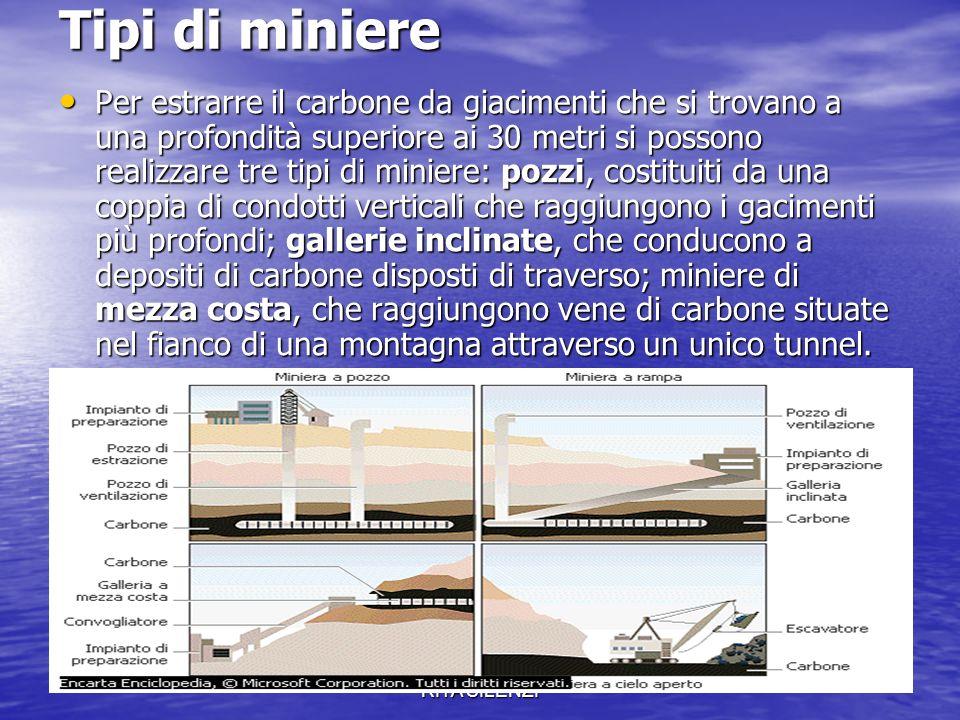 CLASSE 1A G PROF.SSA ANNA RITA SILENZI Tipi di miniere Per estrarre il carbone da giacimenti che si trovano a una profondità superiore ai 30 metri si