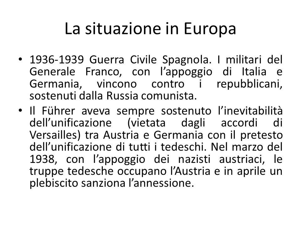 CONFERENZA INTERNAZIONALE DI MONACO – settembre 1938 Dopo lAustria le mire del Führer sono per la Cecoslovacchia.