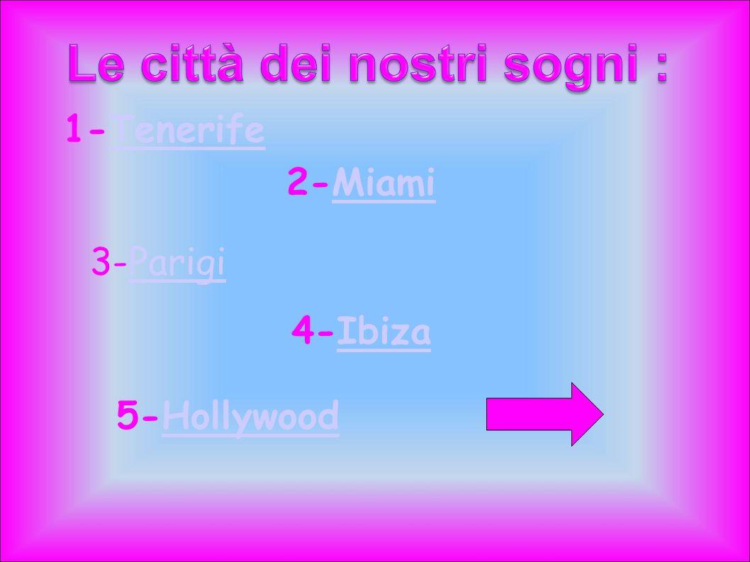 1-TenerifeTenerife 2-MiamiMiami 3-ParigiParigi 4-IbizaIbiza 5-HollywoodHollywood