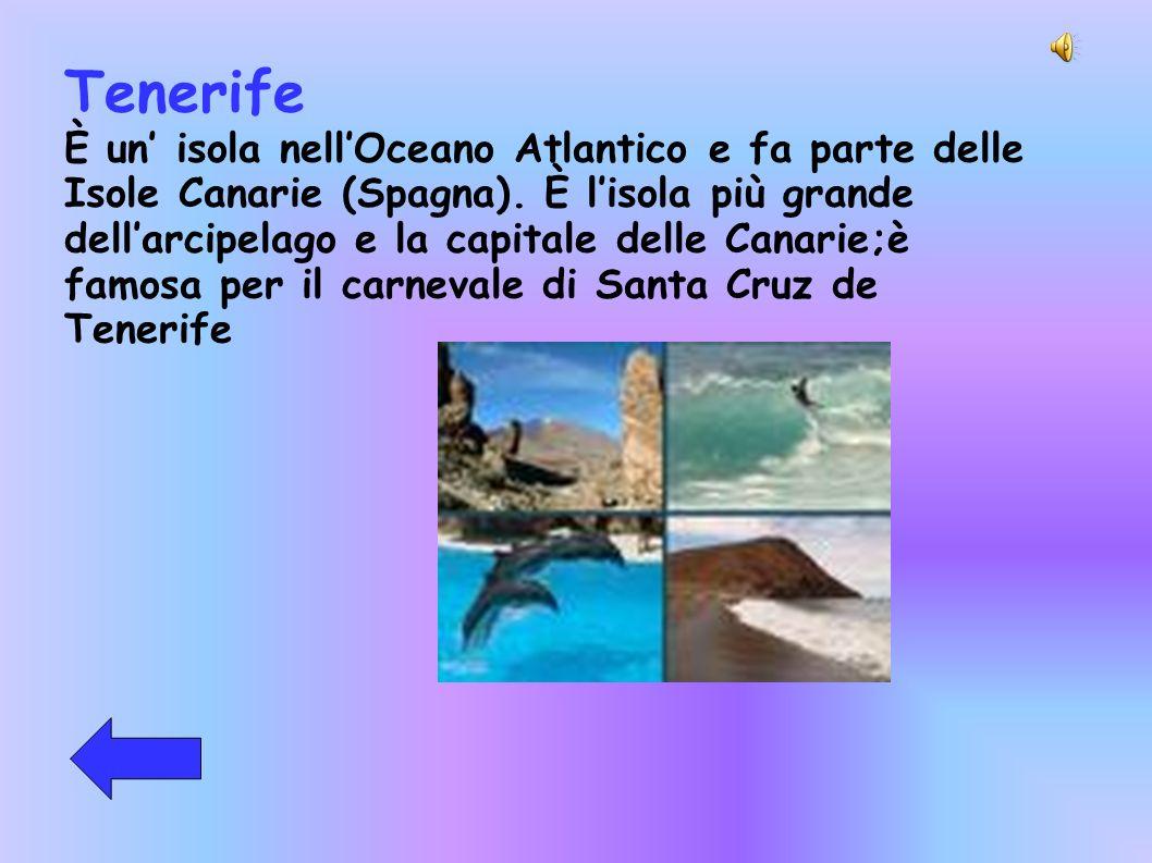 Tenerife È un isola nellOceano Atlantico e fa parte delle Isole Canarie (Spagna). È lisola più grande dellarcipelago e la capitale delle Canarie;è fam