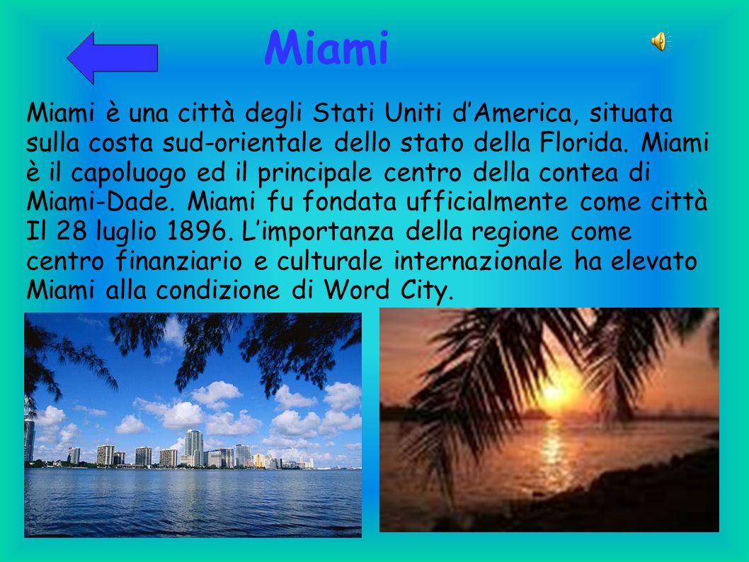 Miami Miami è una città degli Stati Uniti dAmerica, situata sulla costa sud-orientale dello stato della Florida. Miami è il capoluogo ed il principale