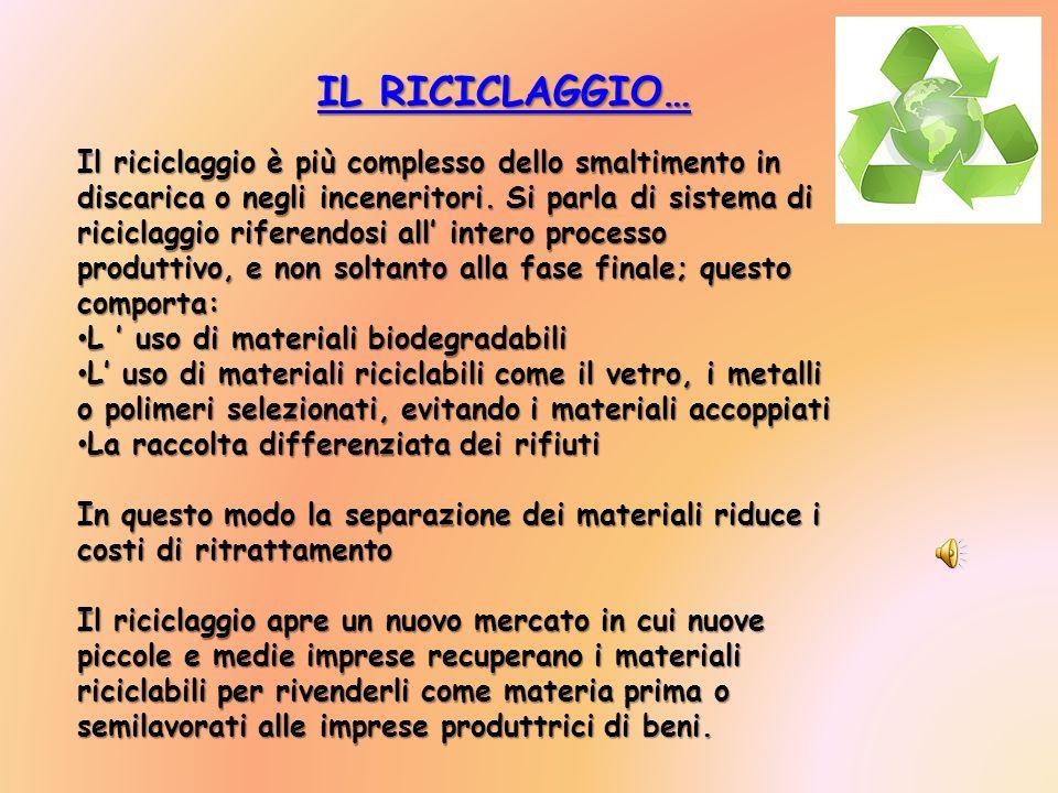 IL RICICLAGGIO… IL RICICLAGGIO… IL RICICLAGGIO… IL RICICLAGGIO… Il riciclaggio è più complesso dello smaltimento in discarica o negli inceneritori. Si