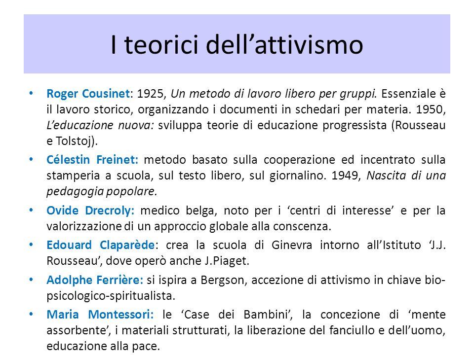 I teorici dellattivismo Roger Cousinet: 1925, Un metodo di lavoro libero per gruppi. Essenziale è il lavoro storico, organizzando i documenti in sched