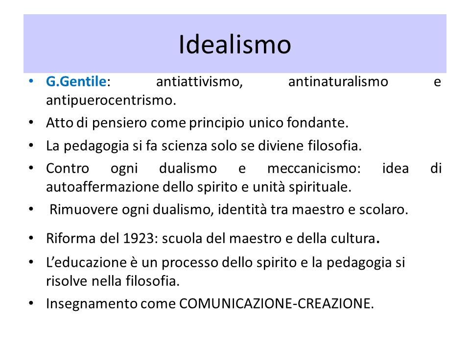 Idealismo G.Gentile: antiattivismo, antinaturalismo e antipuerocentrismo. Atto di pensiero come principio unico fondante. La pedagogia si fa scienza s