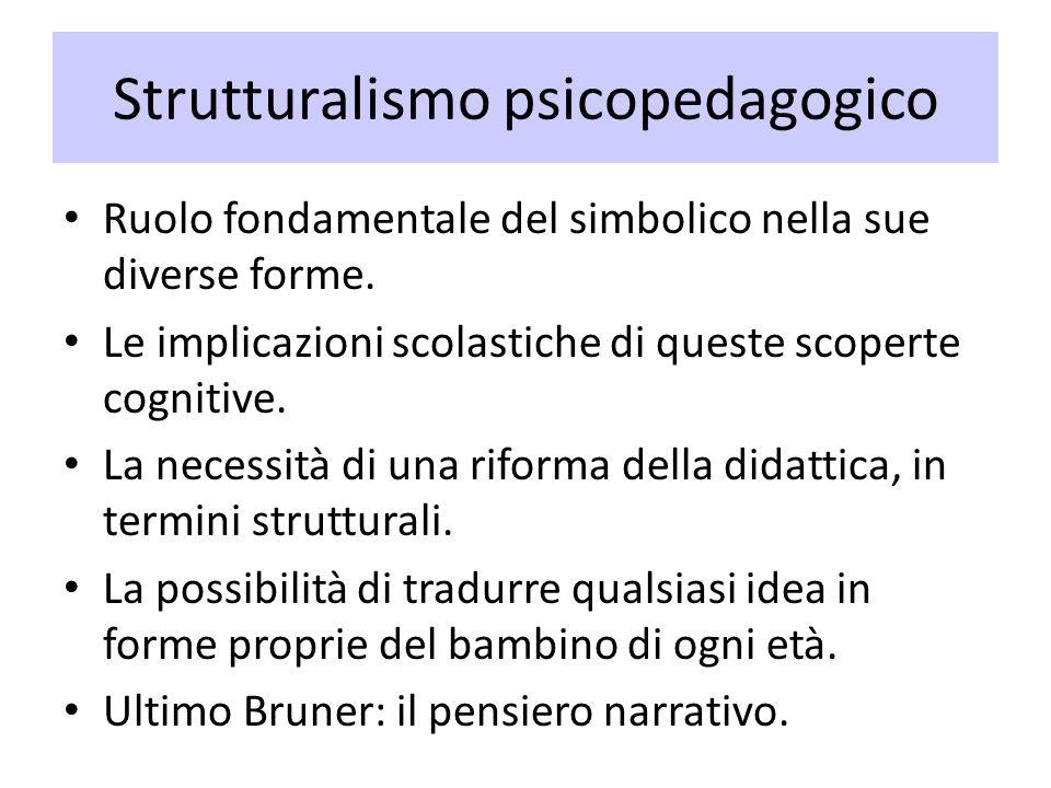 Strutturalismo psicopedagogico Ruolo fondamentale del simbolico nella sue diverse forme. Le implicazioni scolastiche di queste scoperte cognitive. La