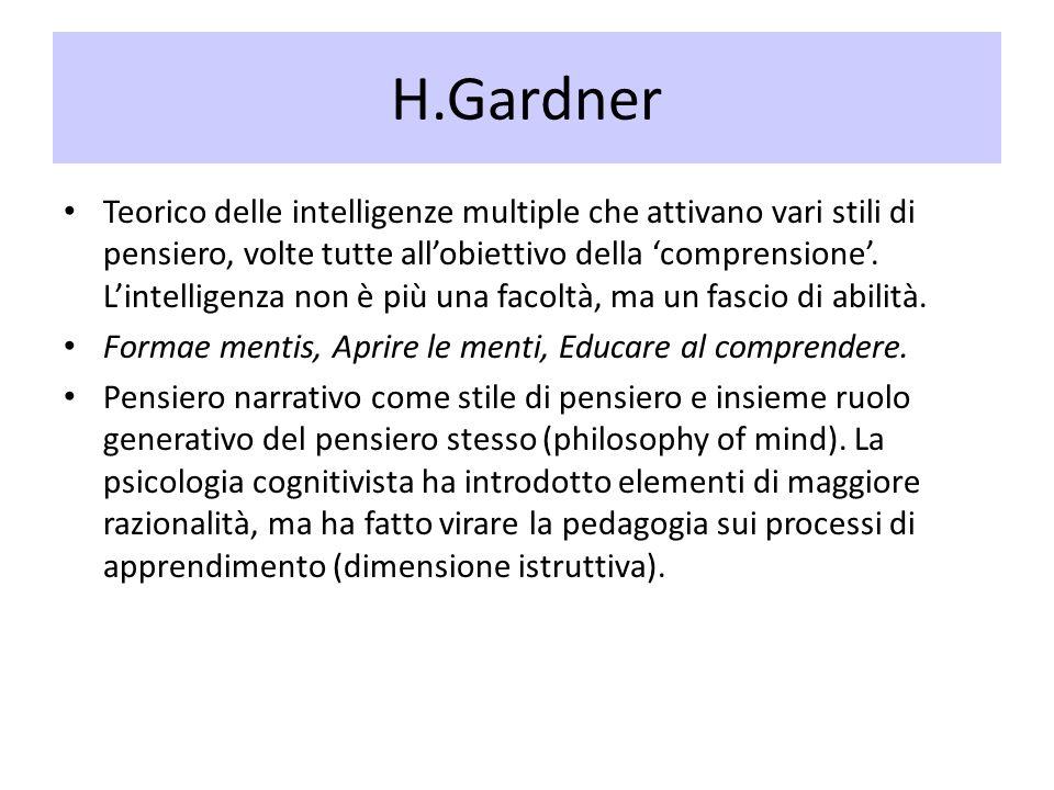 H.Gardner Teorico delle intelligenze multiple che attivano vari stili di pensiero, volte tutte allobiettivo della comprensione. Lintelligenza non è pi