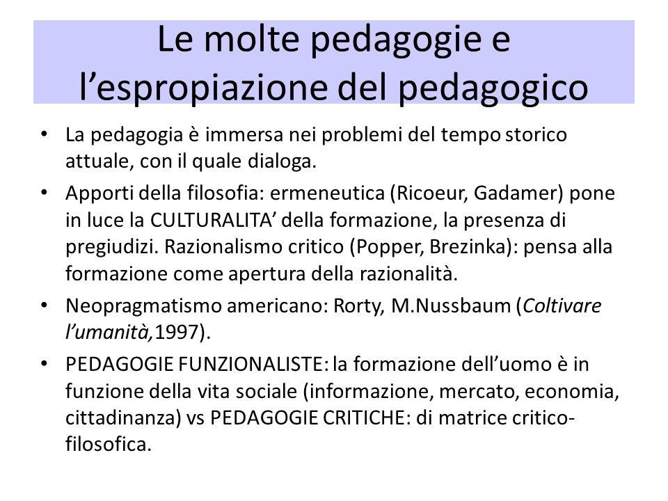 Le molte pedagogie e lespropiazione del pedagogico La pedagogia è immersa nei problemi del tempo storico attuale, con il quale dialoga. Apporti della