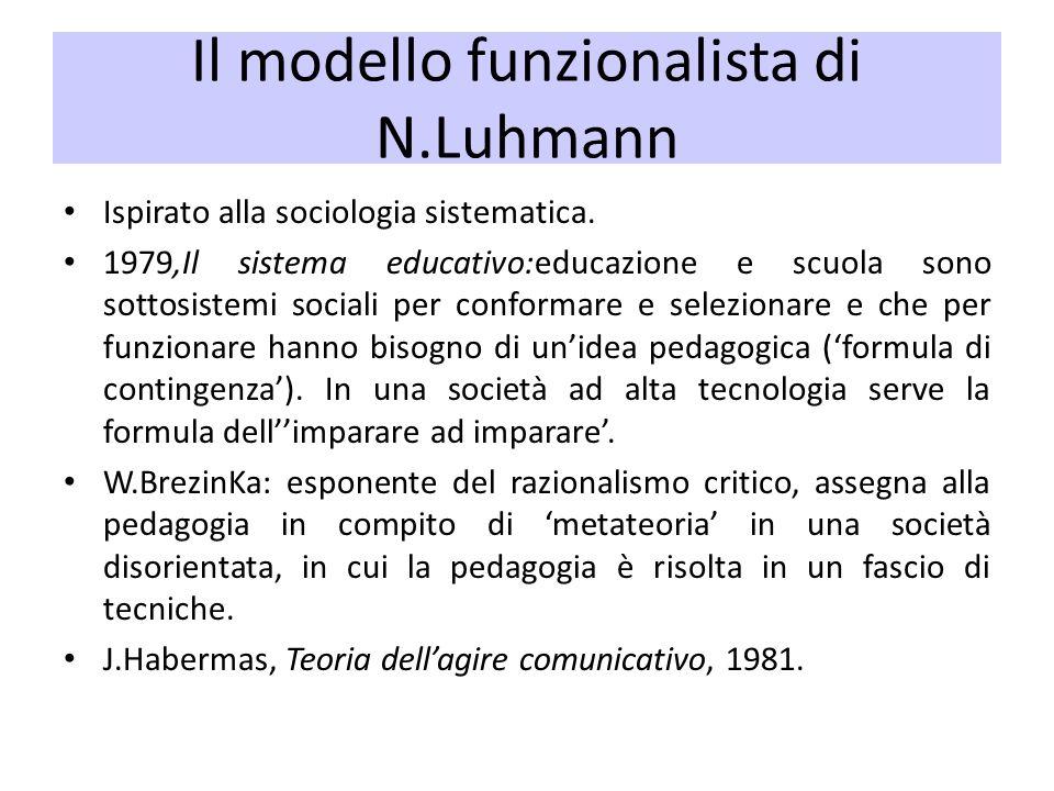 Il modello funzionalista di N.Luhmann Ispirato alla sociologia sistematica. 1979,Il sistema educativo:educazione e scuola sono sottosistemi sociali pe
