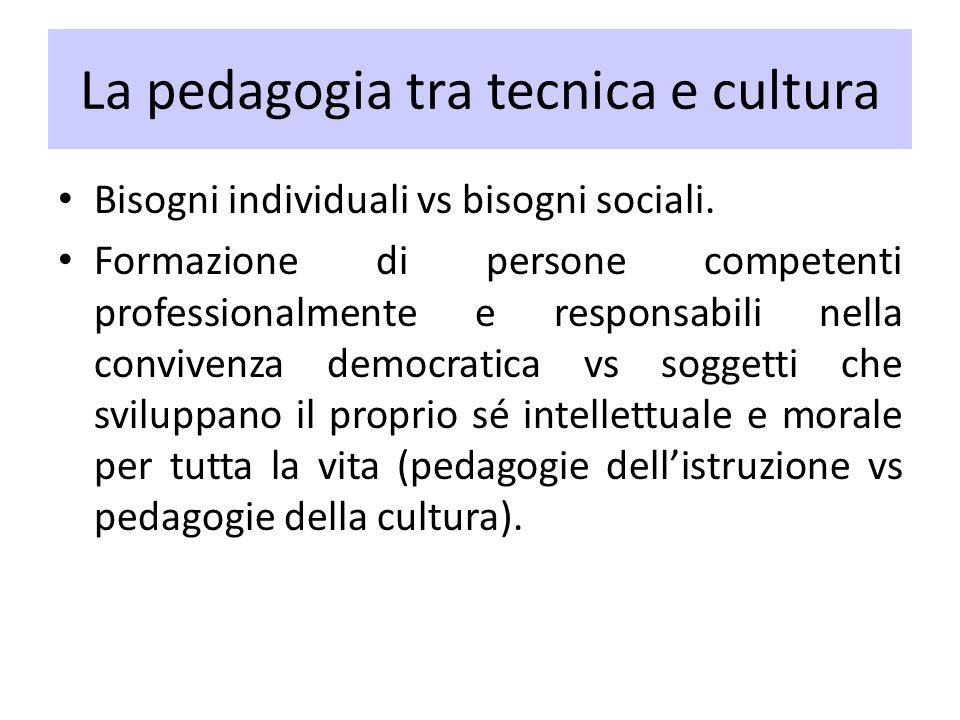 La pedagogia tra tecnica e cultura Bisogni individuali vs bisogni sociali. Formazione di persone competenti professionalmente e responsabili nella con