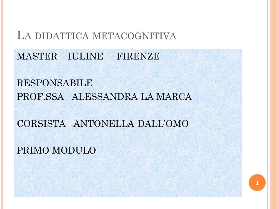 L A DIDATTICA METACOGNITIVA MASTER IULINE FIRENZE RESPONSABILE PROF.SSA ALESSANDRA LA MARCA CORSISTA ANTONELLA DALLOMO PRIMO MODULO 1