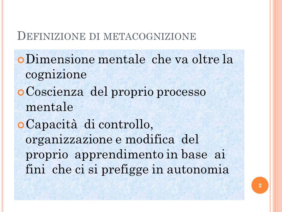 D EFINIZIONE DI METACOGNIZIONE Dimensione mentale che va oltre la cognizione Coscienza del proprio processo mentale Capacità di controllo, organizzazi