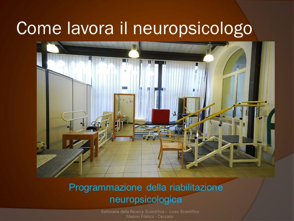 Come lavora il neuropsicologo Settimana della Ricerca Scientifica – Liceo Scientifico Martino Filetico - Ceccano Programmazione della riabilitazione neuropsicologica