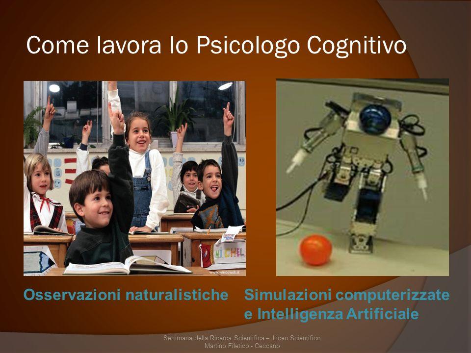 Come lavora lo Psicologo Cognitivo Osservazioni naturalisticheSimulazioni computerizzate e Intelligenza Artificiale Settimana della Ricerca Scientifica – Liceo Scientifico Martino Filetico - Ceccano