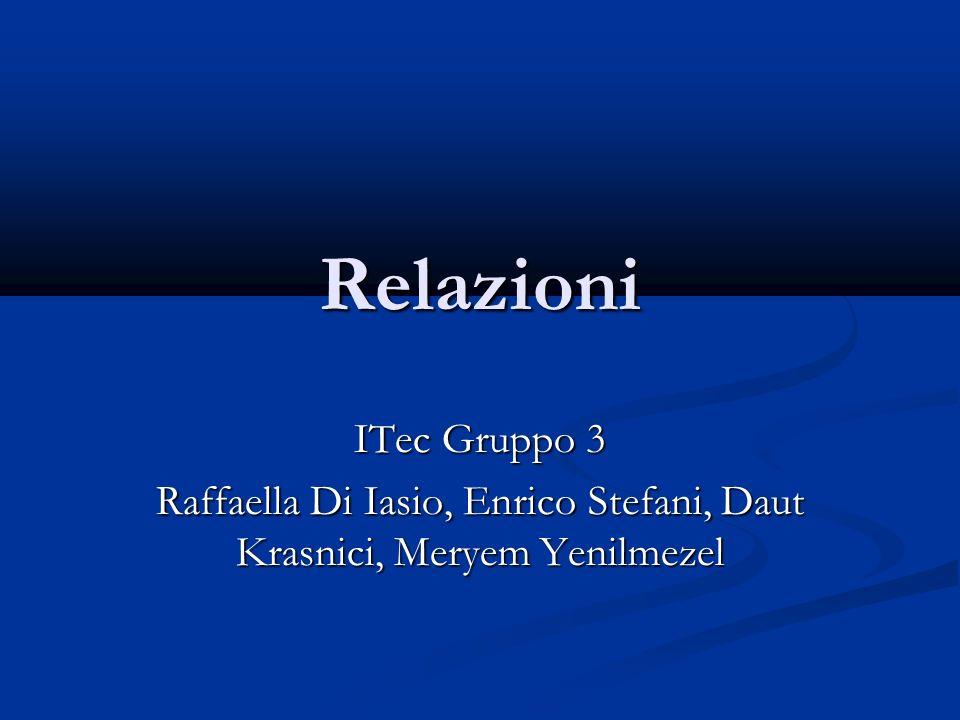 Relazioni ITec Gruppo 3 Raffaella Di Iasio, Enrico Stefani, Daut Krasnici, Meryem Yenilmezel