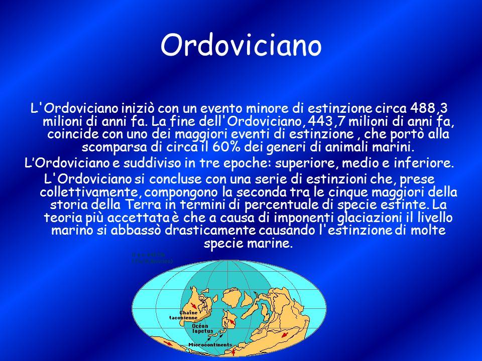 Ordoviciano L'Ordoviciano iniziò con un evento minore di estinzione circa 488,3 milioni di anni fa. La fine dell'Ordoviciano, 443,7 milioni di anni fa