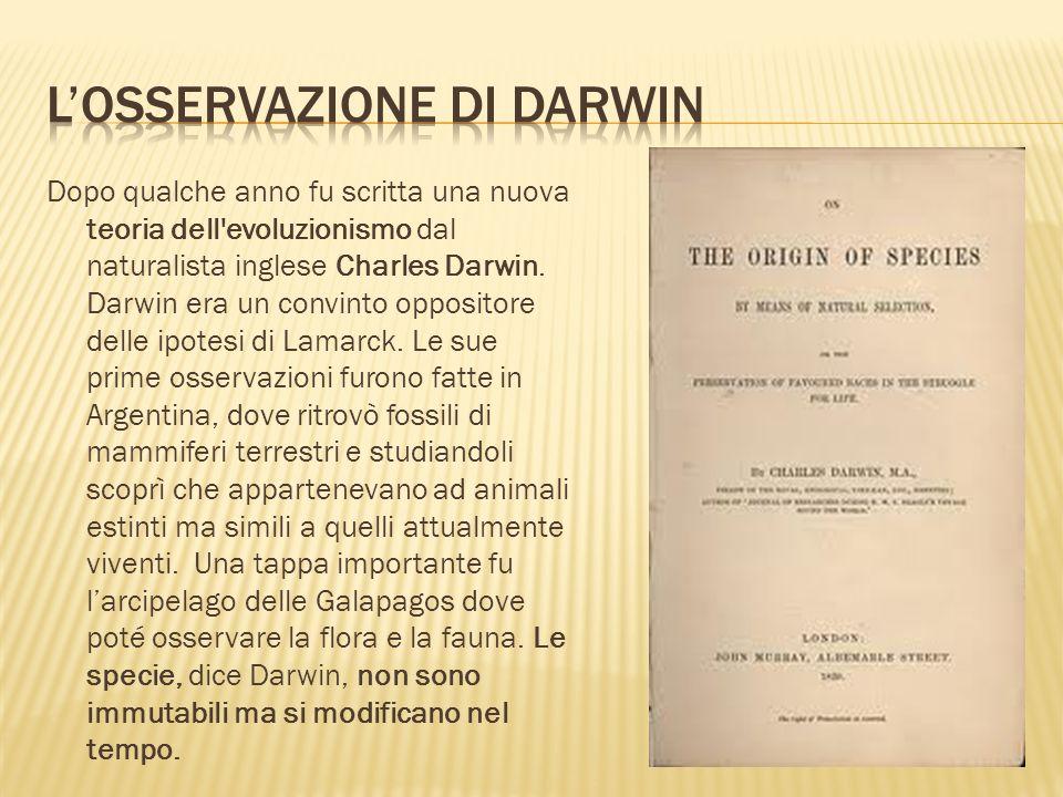 Dopo qualche anno fu scritta una nuova teoria dell'evoluzionismo dal naturalista inglese Charles Darwin. Darwin era un convinto oppositore delle ipote