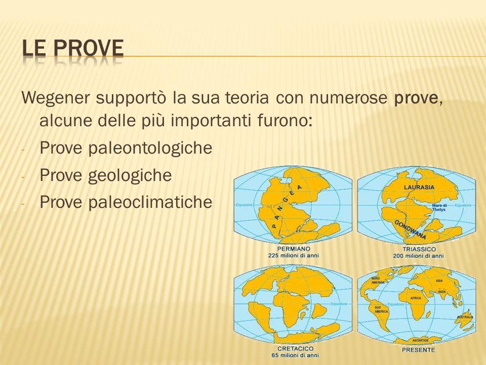 Wegener supportò la sua teoria con numerose prove, alcune delle più importanti furono: - Prove paleontologiche - Prove geologiche - Prove paleoclimati