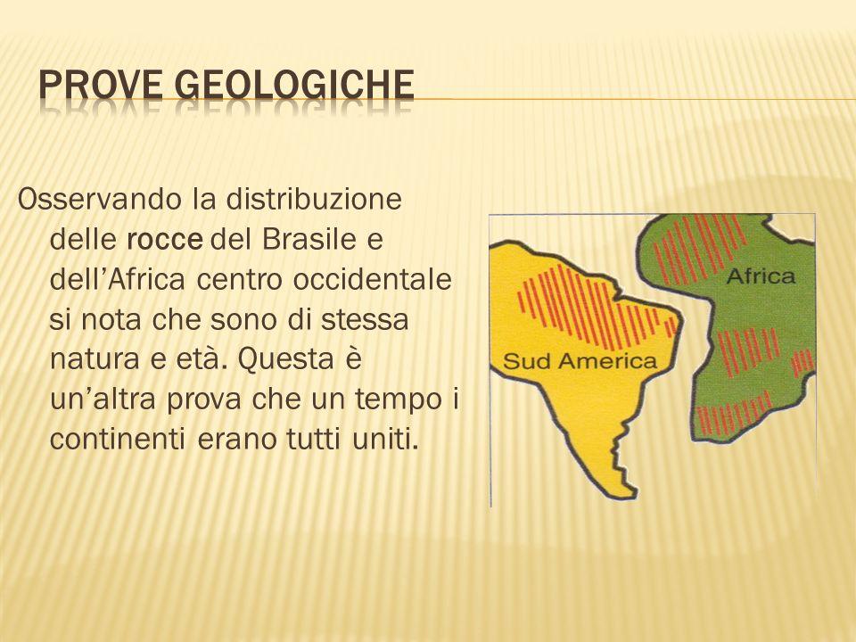 Osservando la distribuzione delle rocce del Brasile e dellAfrica centro occidentale si nota che sono di stessa natura e età. Questa è unaltra prova ch