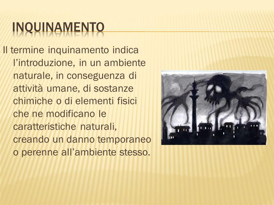Il termine inquinamento indica lintroduzione, in un ambiente naturale, in conseguenza di attività umane, di sostanze chimiche o di elementi fisici che