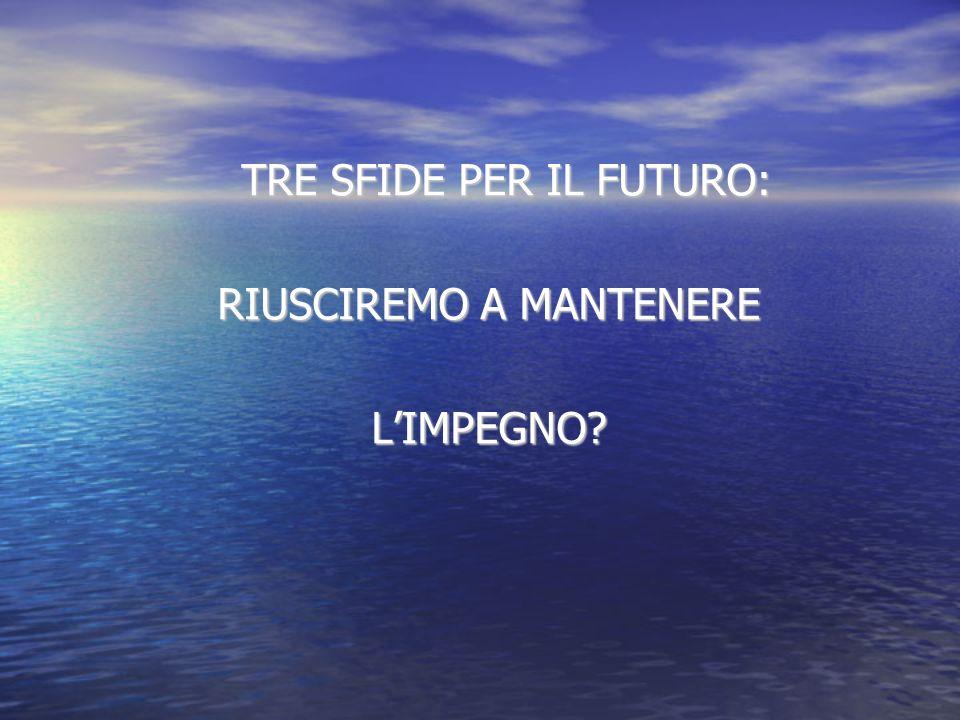 TRE SFIDE PER IL FUTURO: RIUSCIREMO A MANTENERE LIMPEGNO?
