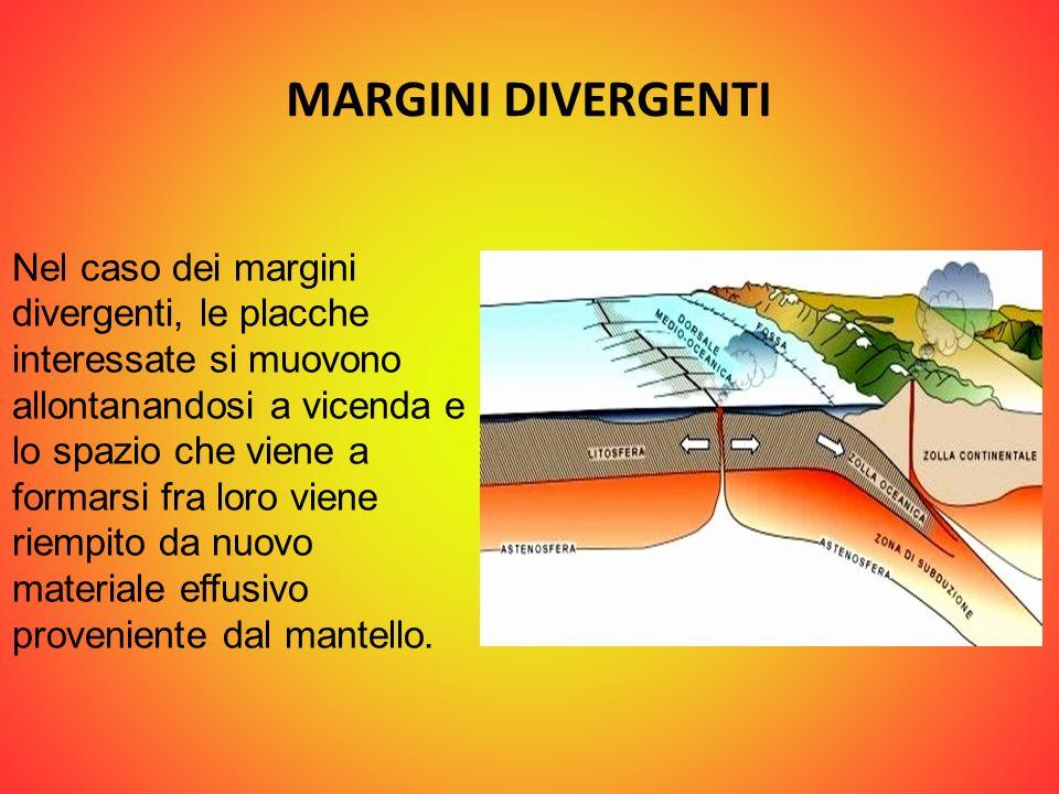 MARGINI DIVERGENTI Nel caso dei margini divergenti, le placche interessate si muovono allontanandosi a vicenda e lo spazio che viene a formarsi fra lo