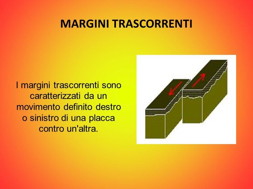 MARGINI TRASCORRENTI I margini trascorrenti sono caratterizzati da un movimento definito destro o sinistro di una placca contro un'altra.