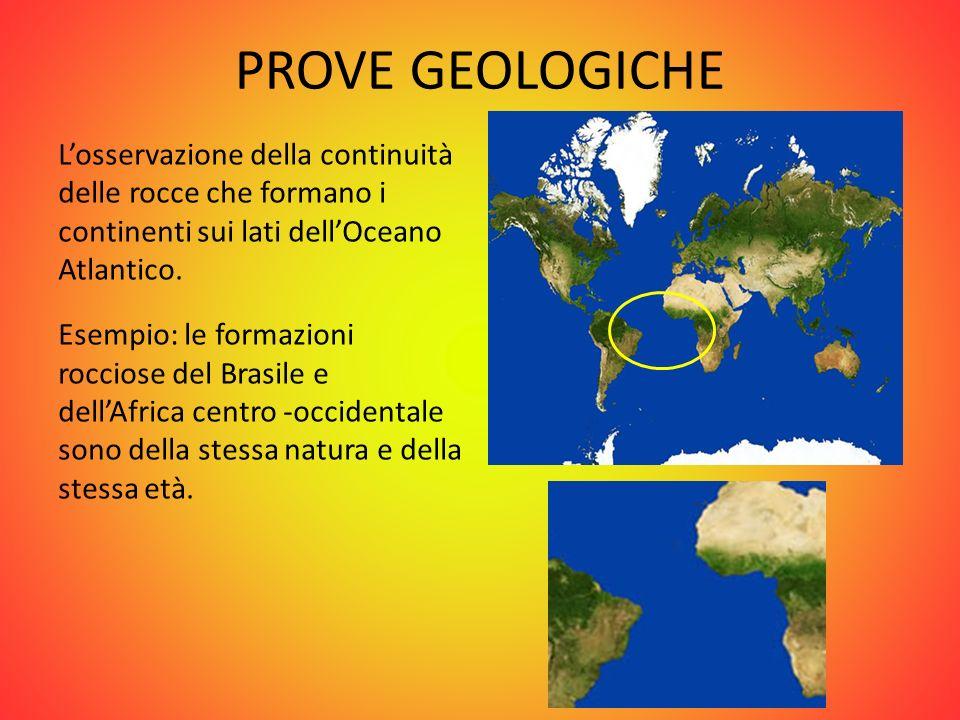 PROVE GEOLOGICHE Losservazione della continuità delle rocce che formano i continenti sui lati dellOceano Atlantico. Esempio: le formazioni rocciose de